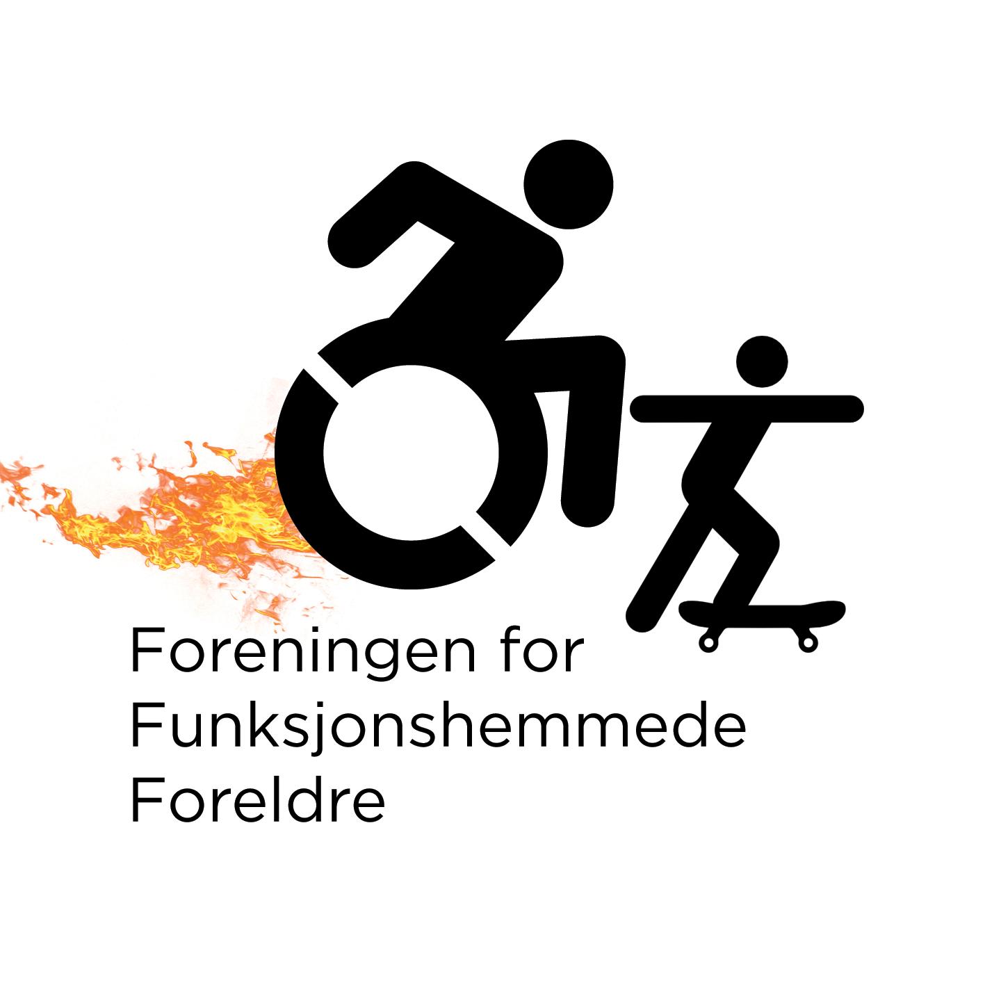 Logoen. Tekst: Foreningen for Funksjonshemmede Foreldre. En voksen i rullestol med flammer fra bakhjulet, et barn står på rullebrett foran. Illustrasjon.